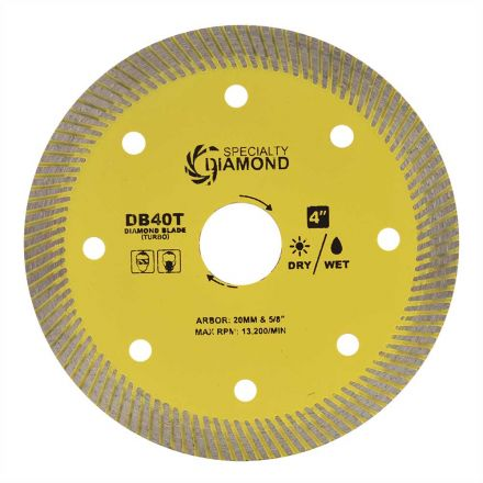 Specialty Diamond DB40T 4 Inch High Performance General Purpose Dry or Wet Cutting Turbo Diamond Blade