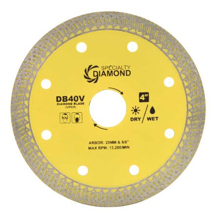 Specialty Diamond DB40V 4 Inch High Performance Dry or Wet Cutting Viper Diamond Blade for Porcelain and Granite