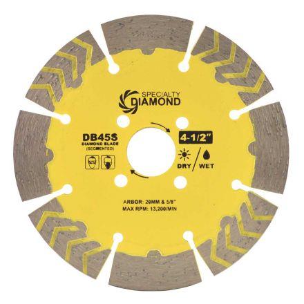 Specialty Diamond DB45S 4-1/2 Inch Dry or Wet Cutting Segmented Diamond Blade