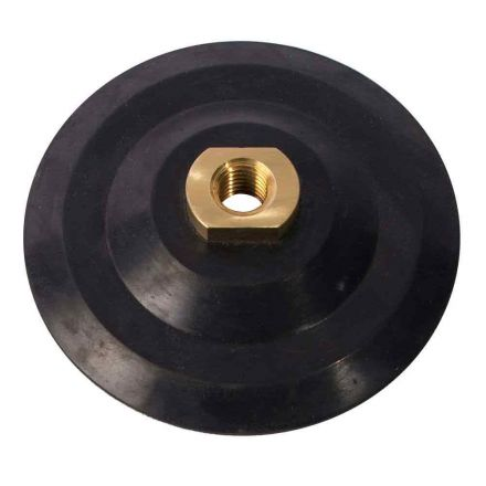 Specialty Diamond PP40 4 Inch Dia Semi Flexible Rubber Backing Pad with Hook & Loop and 5/8 Inch-11 Female Brass Nut