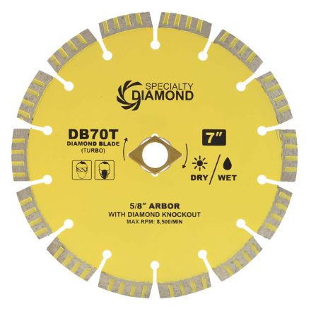 Specialty Diamond DB70T 7 Inch High Performance Dry or Wet Cutting General Purpose Turbo Segmented Diamond Blade