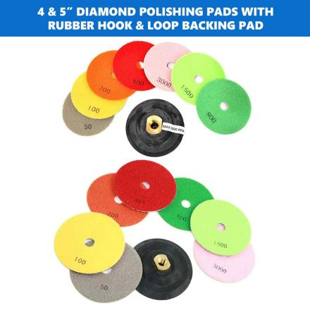 Specialty Diamond E45SET 4 Inch & 5 Inch Diamond Polishing Pads with Rubber Hook & Loop Backing Pad
