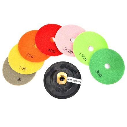 Specialty Diamond E4SET 4 Inch Diamond Polishing Pad Set Includes Rubber Hook & Loop Backing Pad (E4PADSET)